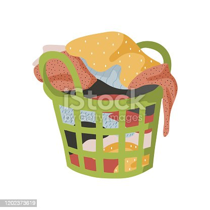 istock Isolated on white background basket with a bunch of dirty laundry. Vector flat illustration. 1202373619