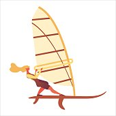 Isolated on white background flat woman with flying hair riding windsurfing board. Flat modern concept illustration good for extreme sport and entertainment.