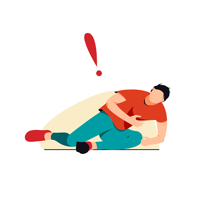 Isolated on white fallen man with chest pain vector illustration.