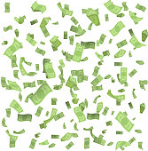 Isolated on white money rain fall earnings luck fortune banknote flying floating confetti realistic 3d design vector illustration