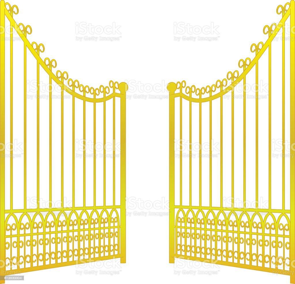isolated on white open golden gate fence vector vector art illustration