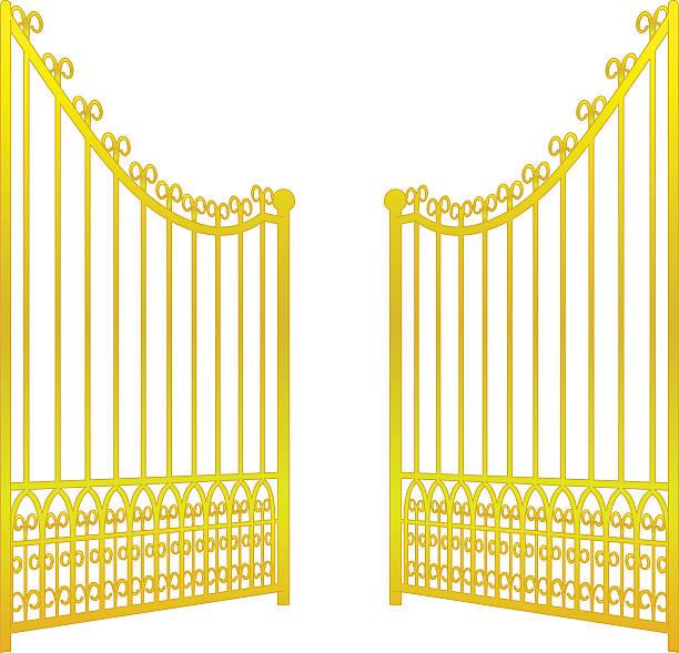 isolated on white open golden gate fence vector isolated on white open golden gate fence vector illustration gate stock illustrations