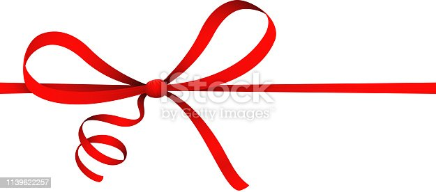 Isolated on white red ribbon curl bow gift decorative present ornament vector illustration