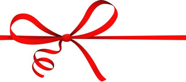 고립 된, 백색, 빨간 리본, 컬 활, 선물, 장식, 장식품 벡터 일러스트 - 머리 리본 stock illustrations