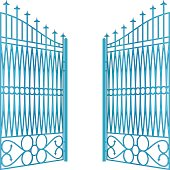 isolated open blue iron gate fence vector