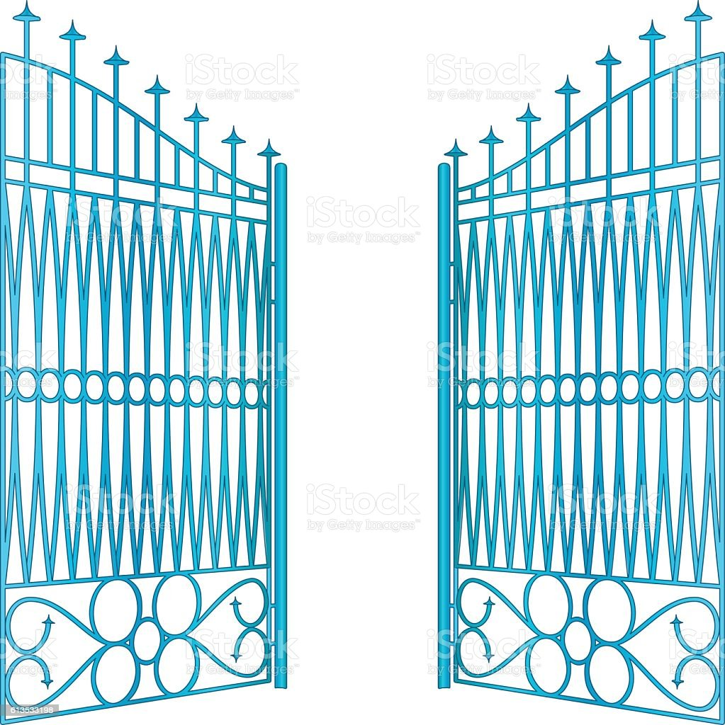 isolated open blue iron gate fence vector vector art illustration