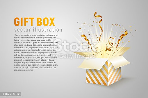 Isolated open box with gold ribbons and confetti splash on white background Holidays vector illustration with empty space for text