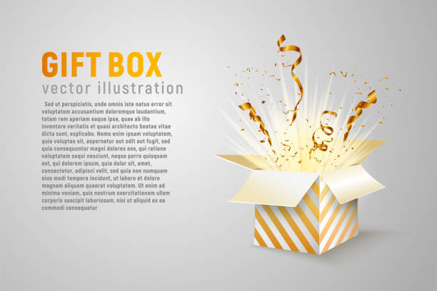 ilustrações de stock, clip art, desenhos animados e ícones de isolated open box with gold ribbons and confetti splash on white background. holidays vector illustration with empty space for text. - surpresa
