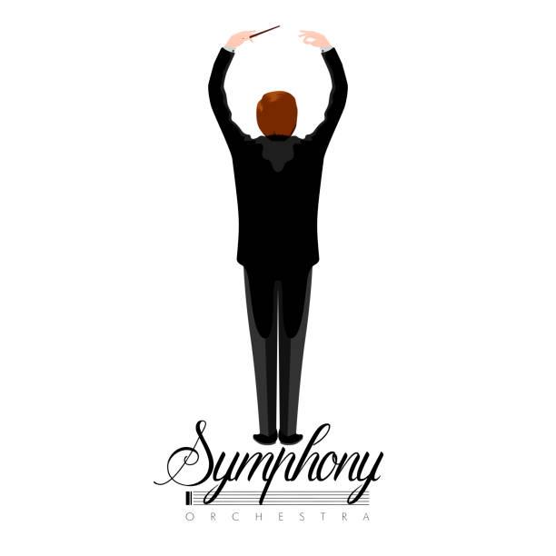 isolierte orchester-direktor-symbol - bandleader stock-grafiken, -clipart, -cartoons und -symbole