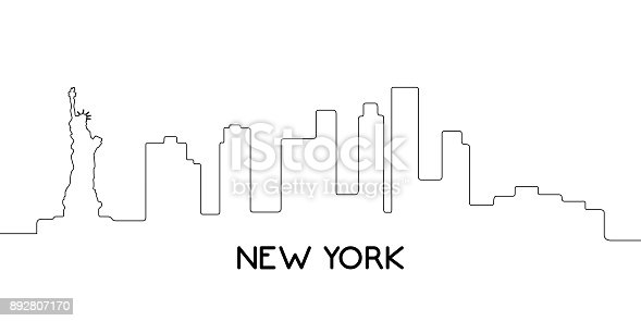 istock Isolated outline of New York 892807170