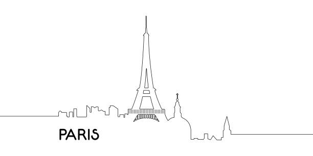 Isolated outline of Paris Isolated outline cityscape of Paris, Vector illustration eiffel tower stock illustrations