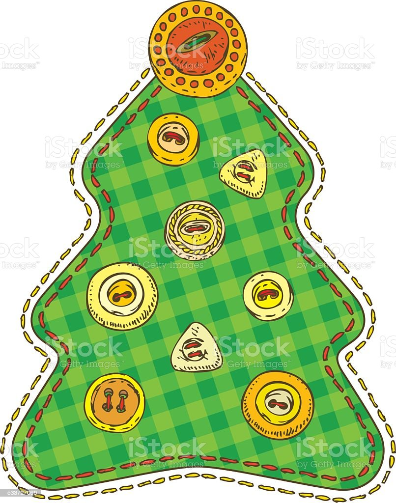 Isolated Patchwork Christmas Tree vector art illustration