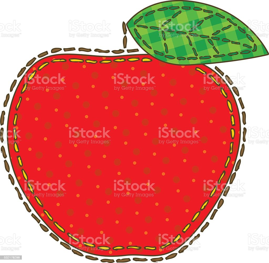 Isolated Patchwork Red Apple vector art illustration