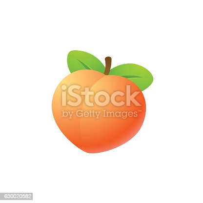 Bright cartoon heart shaped peach icon. Isolated vector illustration.