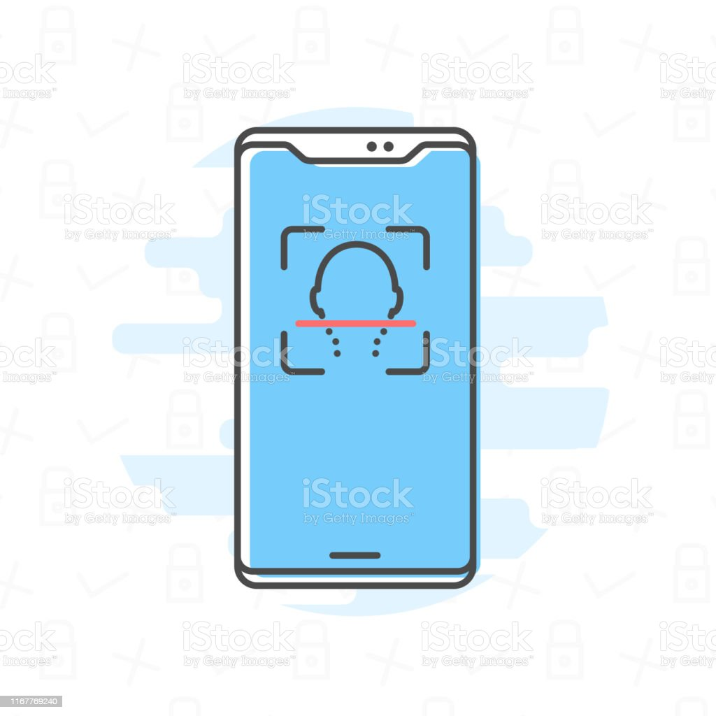 Isolated phone in line art style vector illustration Face id on...