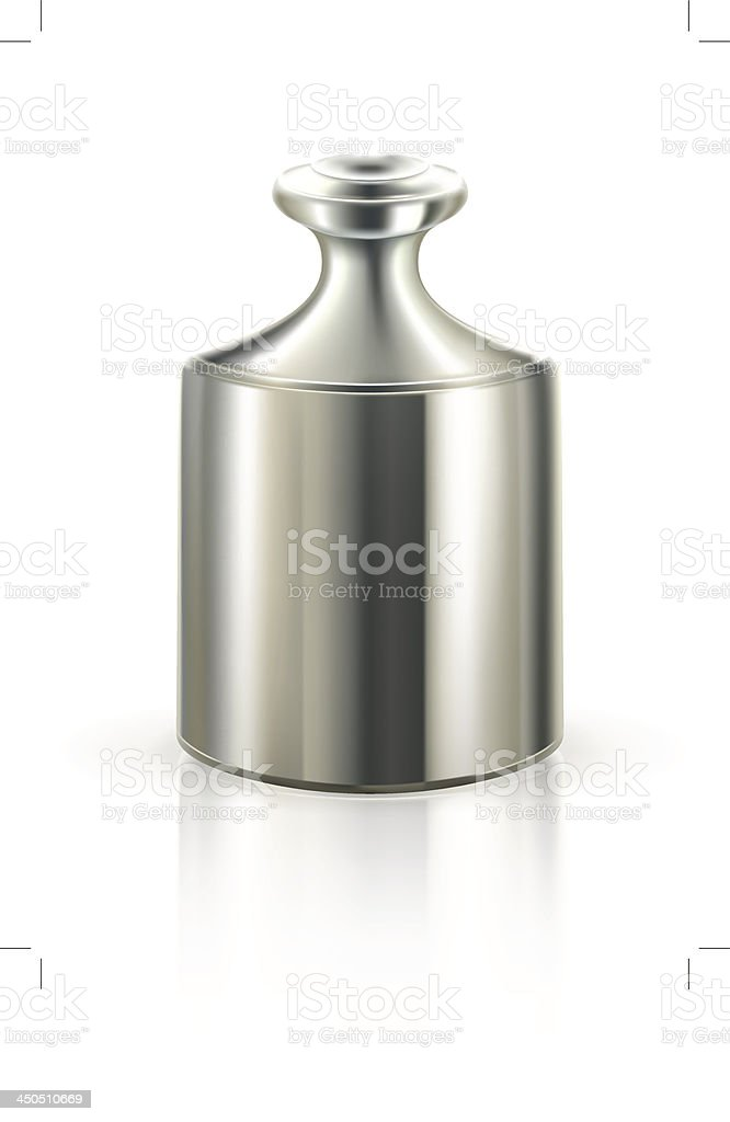 Isolated picture of a silver weight vector art illustration