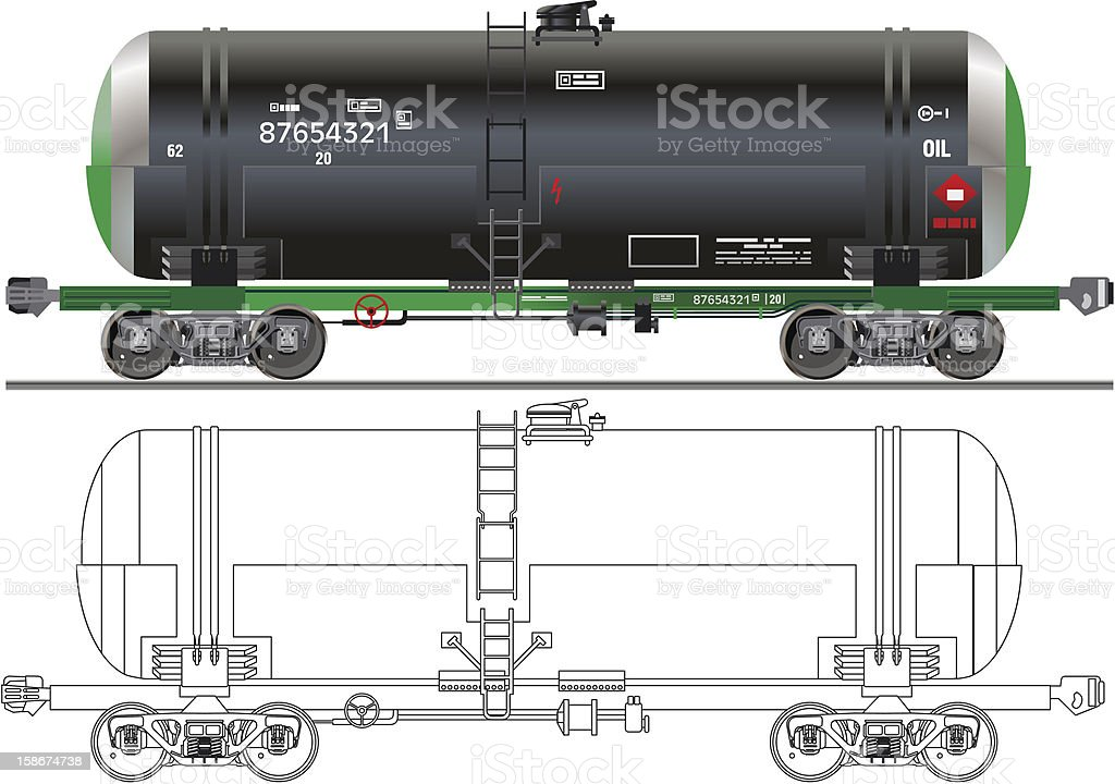 Isolated picture of an oil tanker with outline schematic royalty-free stock vector art