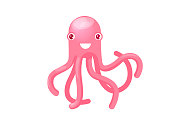 Isolated pink octopus smiling, good humor