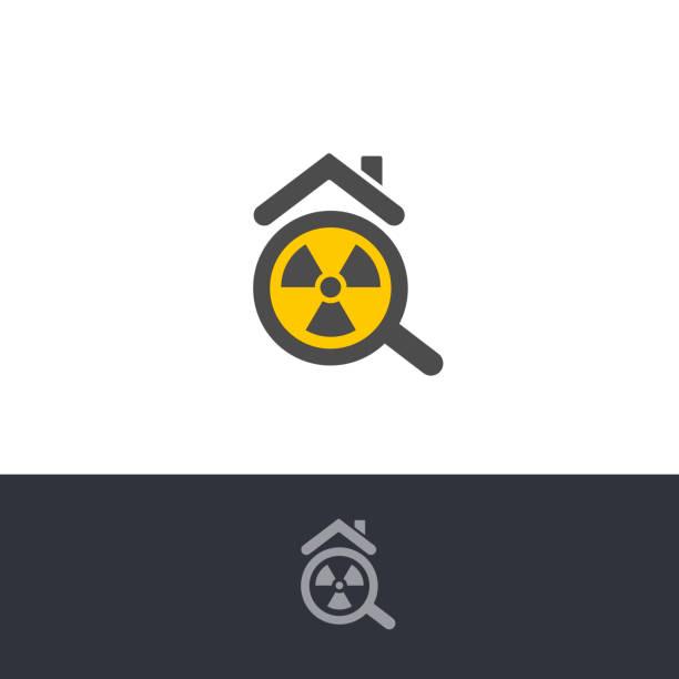 stockillustraties, clipart, cartoons en iconen met geïsoleerde giftige radonverontreiniging, chemisch elementlogo. radioactief gebouw, huis voorzichtigheid pictogram. radium vervuiling test logotype. atoomstraling, rn teken. gevaarlijke omgeving waarschuwing. - radon test