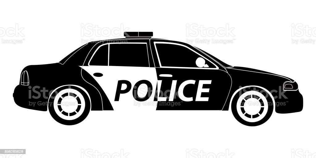 孤立した警察車シルエット アイコンのベクターアート素材や画像を多数