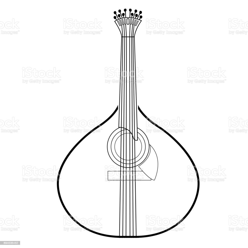Isolated Portuguese Guitar Outline Stock Illustration Download
