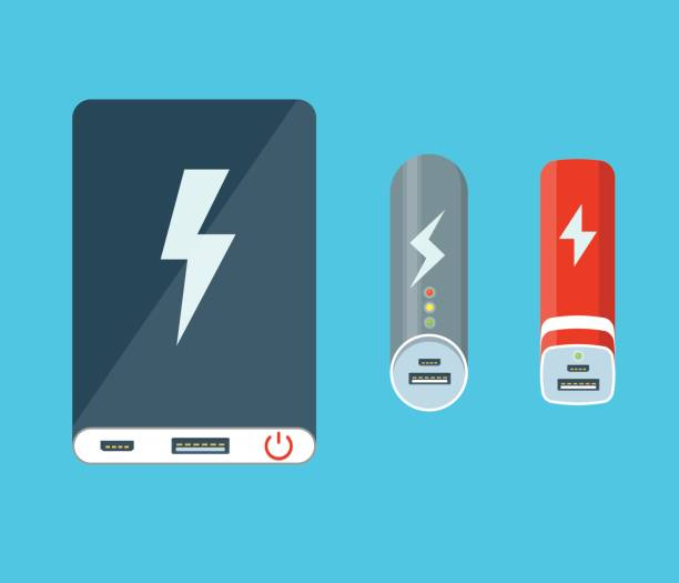 Isolated power banks. Isolated power banks. Flat illustration. cell phone charger stock illustrations