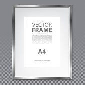 Isolated realistic frame with metallic border on transparent background. Simple photo frame with A4 page and text. Modern 3d metal box for painting or advertising, show or gallery. Information board