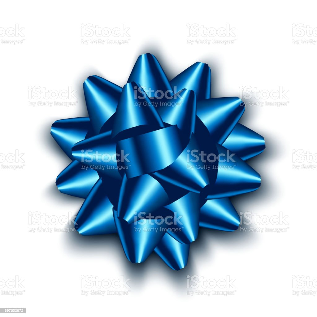 Isolated realistic blue satin bow for gift. Vector illustration