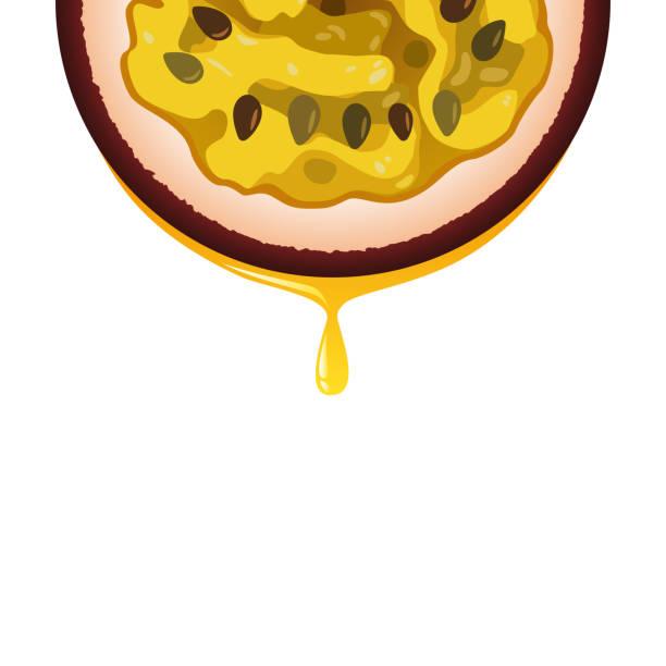 illustrations, cliparts, dessins animés et icônes de isolés réaliste couleur demi-cercle tranche de couleur pourpre juicy fruit de la passion avec une goutte de jus sur fond blanc. - fruit de la passion