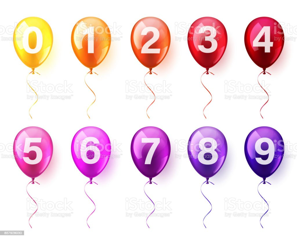 Isolated Realistic Colorful Glossy Flying Air Balloons set with numbers. Birthday party. Ribbon.Celebration. Wedding or Anniversary vector art illustration