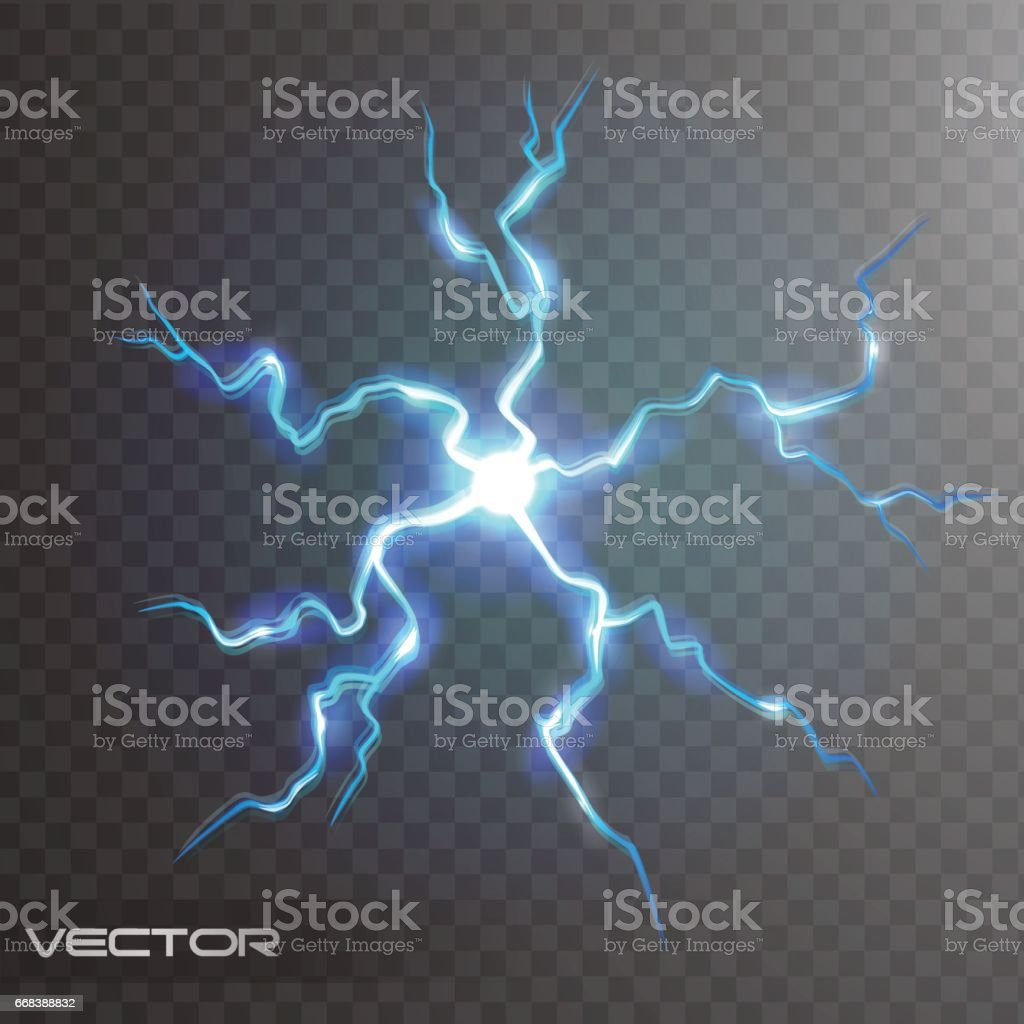 Isolated Realistic Lightning Bolt With Transparency For Design Flash