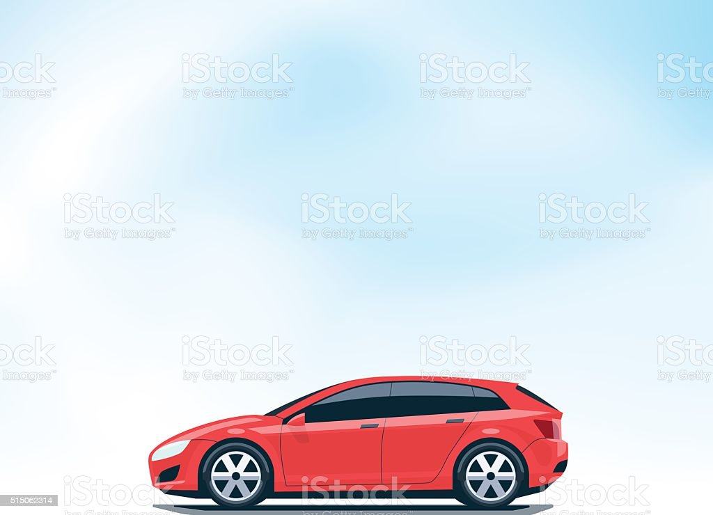 Isolated Red Car Hatchback Side View vector art illustration