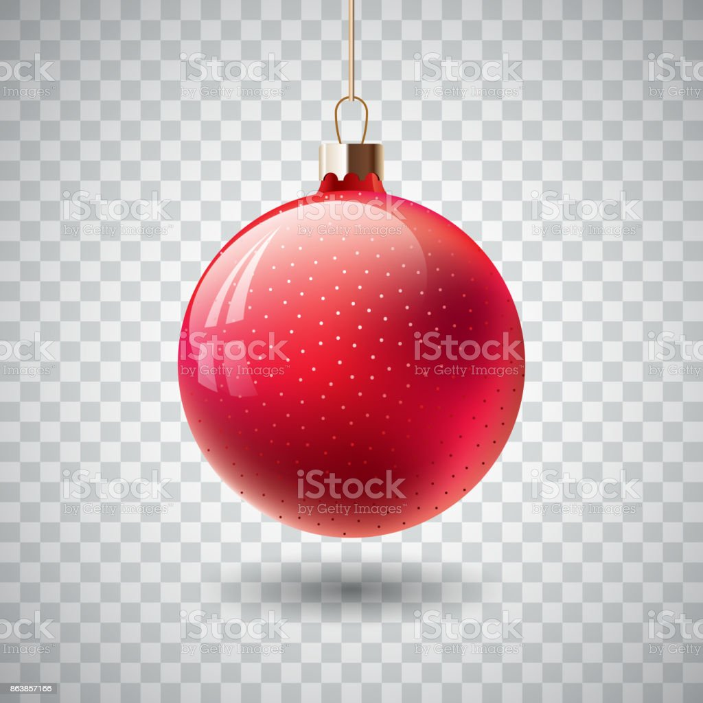 Isolated Red Christmas ball on transparent background. Vector illustration. royalty-free isolated red christmas ball on transparent background vector illustration stock illustration - download image now