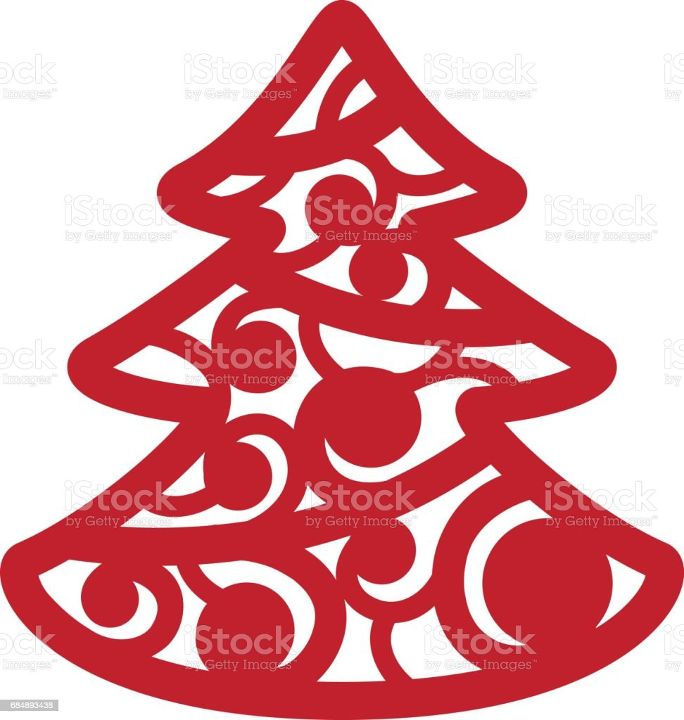 Isolated red christmas tree on a white background vector laser cutting cutout silhouette illustration