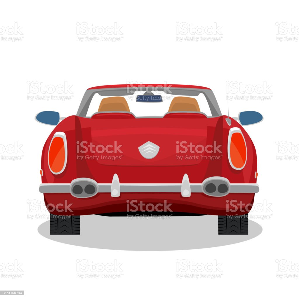 Isolated red retro cabriolet with shadow vector art illustration