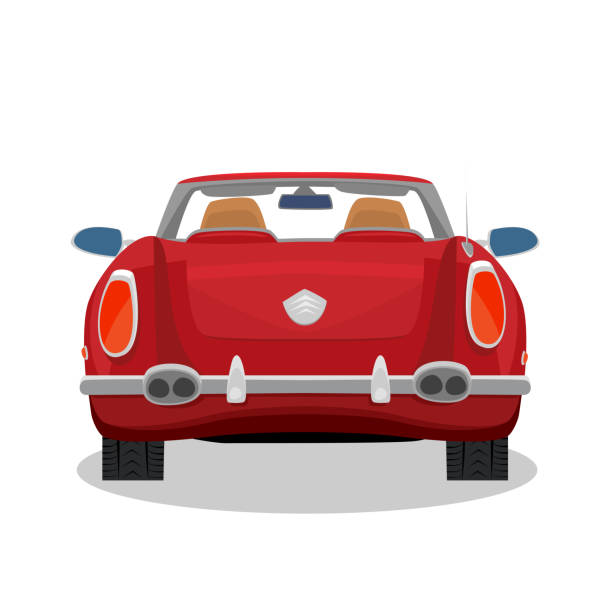 Isolated red retro cabriolet with shadow Isolated red car, retro cabriolet on white background with shadow. Rear back view. Simplistic realistic comic art style convertible stock illustrations