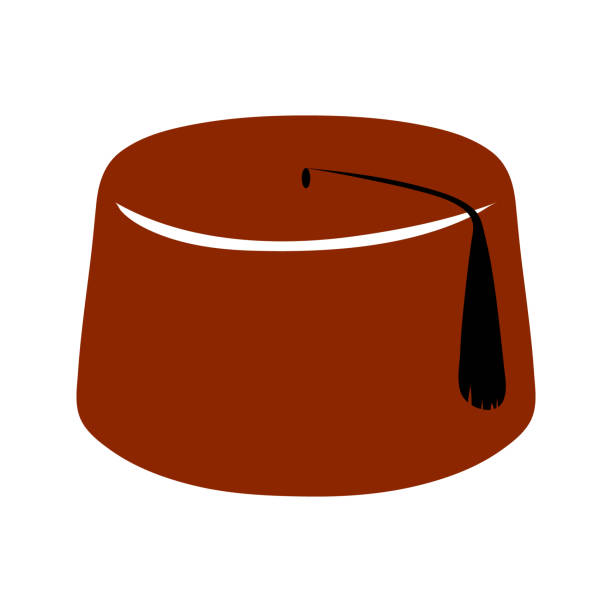 Isolated red Turkish fez (or tarboosh) with a black tassel vector art illustration