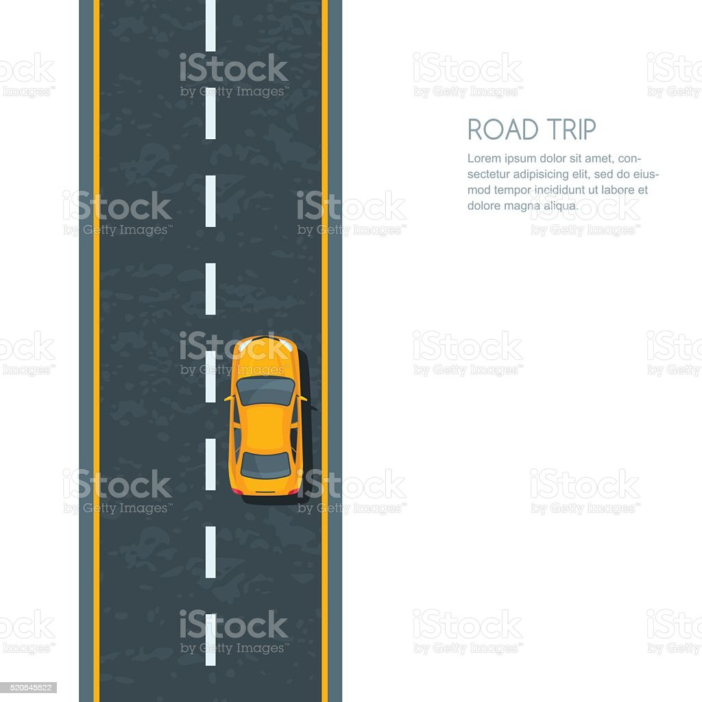 Vector illustration of highway and moving yellow car. Isolated road...