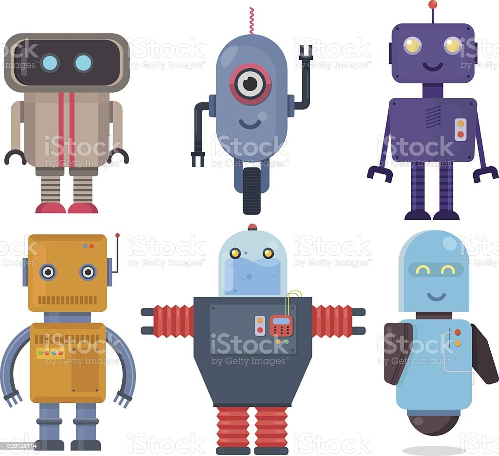 Isolated robot set. Collection future element icon character, cartoon robots - ilustración de arte vectorial