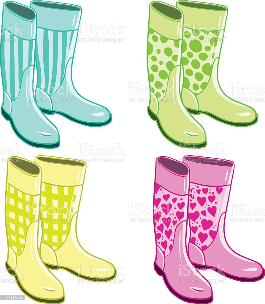 Isolated rubber gumboots vector art illustration