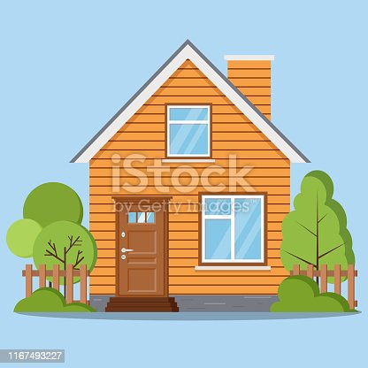 istock Isolated rural farm woofen house with fence, chimney, attic, windows, door. 1167493227