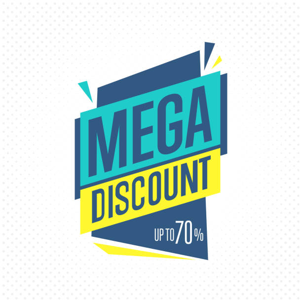 Isolated sale badge, label or sticker, vector Sale badge, vector in flat design style. Mega discount badge. commercial event stock illustrations