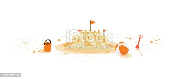 istock Isolated Sand Castle with Childred Summer Toys Ball Bucket 1253182386