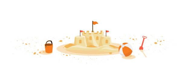 illustrations, cliparts, dessins animés et icônes de château de sable isolé avec le seau de boule de jouets d'été childred - chateau de sable