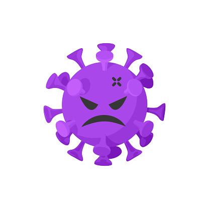 Isolated scary coronavirus character on a white background. Distribution of Coronavirus 2019 - nCoV in China and around the world. Pandemic threat.