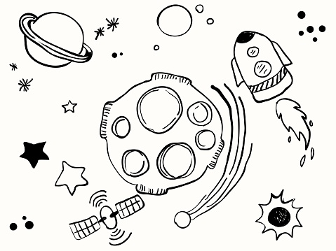 isolated science space childish line hand drawing set element for background, wallpaper, label, banner, texture, cover etc. vector design