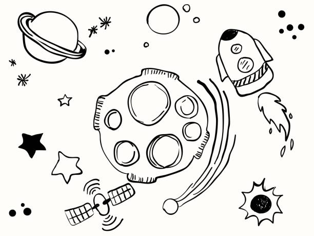 isolated science space childish line hand drawing set element for background, wallpaper, label, banner, texture, cover etc. vector design vector art illustration
