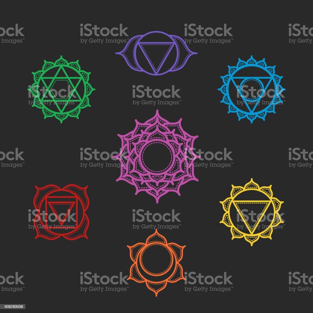 Isolated Set of beautiful indian ornamental 7 chakras. Vector illustration. Color yoga chakra icons isolated on black. 7 chakra mandalas. vector art illustration