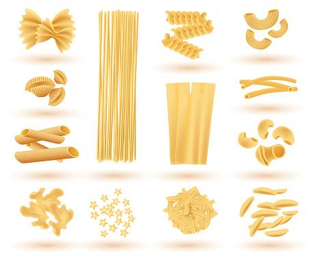 Isolated Set of Italian Pasta. Farfalle, Conchiglie, Linguine, Maccheroni.