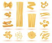 Isolated Set of Italian Pasta. Farfalle, Conchiglie, Linguine, Maccheroni, Penne, Rigate, Spaghetti, Fusilli and Lasagne. Vector Illustration.